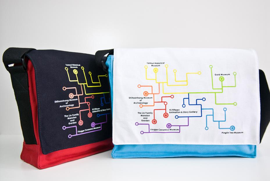 博物館地圖書包(黑紅色/藍白色)